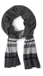 Vince Striped Blanket Scarf H. Black Combo