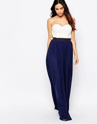 Rare Bandeau Maxi Dress With Contrast Skirt Creamnavy