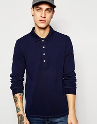 Esprit Long Sleeve Washed Pique Polo Shirt Navy