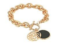 Guess Double Strand Toggle Bracelet With Jet Disc Gold Crystal Jet Bracelet