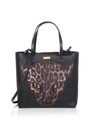 Stella Mccartney Faux Leather And Faux Fur Leopard Tote Black Leopard