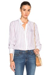 Frame Denim Classic Top In Stripes White