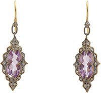 Cathy Waterman Diamond Amethyst And Gold Drop Earrings Colorless