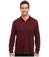 Nautica Long Sleeve Solid Interlock Polo Shipwreck Burgundy Men's Long Sleeve Pullover