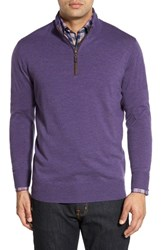 Peter Millar Men's Leather Trim Quarter Zip Pullover Sweater Snapdragon
