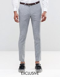 Noose And Monkey Super Skinny Smart Trousers In Fleck Light Grey