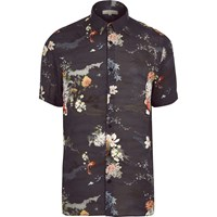 River Island Mens Navy Fish Print Short Sleeve Shirt