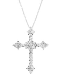 Macy's Diamond Flower Cross Pendant Necklace In 14K White Gold 1 1 2 Ct. T.W.