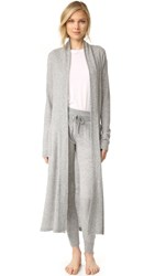 White Warren Cashmere Luxe Robe Cardigan Grey Heather
