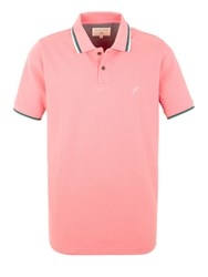 Racing Green Clement Tipped Pique Polo Pink