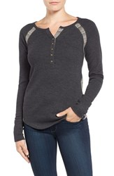 Lucky Brand Women's Pieced Thermal Henley Jet Black