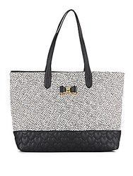 Betsey Johnson Be My Bow Spotted Tote White Black