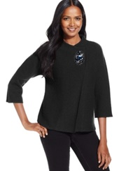 Jm Collection Petite Embellished Crossover Coat Only At Macy's