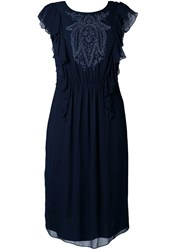 Megan Park 'Pia' Beaded Dress Blue