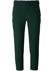 Chloe Cropped Tailored Trousers Green