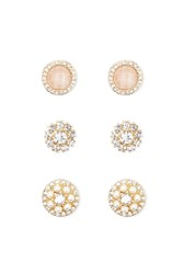 Forever 21 Faux Gem Stud Earring Set Gold Clear