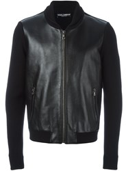 Dolce And Gabbana Leather Panel Jacket Black