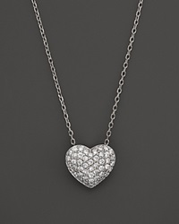 Bloomingdale's Diamond Heart Pendant In 14K White Gold. .33 Ct. T.W. White Gold White Diamonds