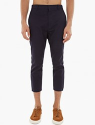 Jil Sander Navy Cotton Slim Fit Trousers