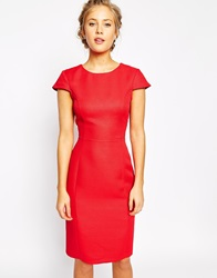 Oasis Jaquard Pencil Dress Red