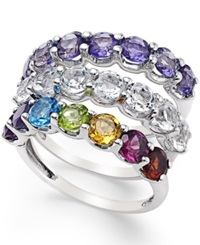 Macy's Multi Stone Stackable 3 Pc. Ring Set 4 3 4 Ct. T.W. In Sterling Silver