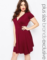 Boohoo Plus Wrap Front Skater Dress Burgundy