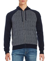 Brooks Brothers Checked Zip Up Sweater Hoodie Blue