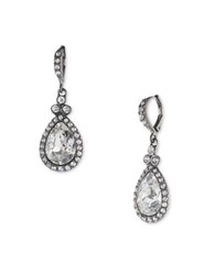 Givenchy Crystal Pave Pear Drop Earrings Silvertone
