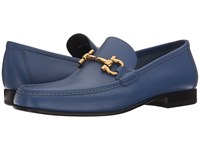 Salvatore Ferragamo Giordano Gancio Bit Loafer Oceano Men's Slip On Dress Shoes Navy
