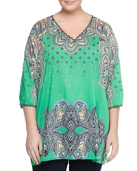 Johnny Was Embroidered Trim Printed Tunic Green Multi