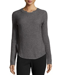 Neiman Marcus Cashmere Ribbed Baseball Hem Sweater Gray