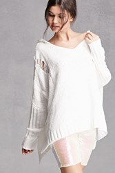 Forever 21 Distressed Hooded Poncho Ivory