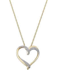 Macy's Diamond Heart Pendant Necklace 1 10 Ct. T.W. In 14K Gold Plated Sterling Silver