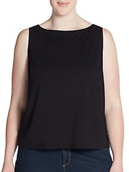 Eileen Fisher Plus Size Boatneck Top Black