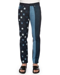 Givenchy Multi Stars And Stripes Printed Denim Jeans Black Women's Night Blue