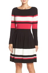Eliza J Women's Stripe Sweater Fit And Flare Dress
