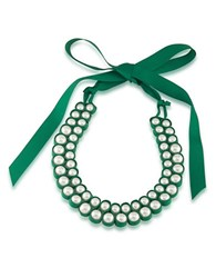 1St And Gorgeous Faux Pearl Bib Necklace White Pearl And Green