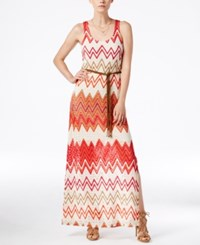 Sanctuary Chevron Print Belted Maxi Dress Summer Nights