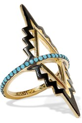 Noir Jewelry Black Rapids Gold Plated Turquoise Ring