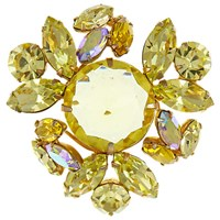 Eclectica Vintage 1950S Regency Gold Plated Glass Stone Brooch Citrine