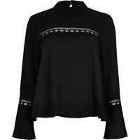 River Island Womens Black Bell Sleeve Top With Lace Detail
