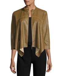 Alberto Makali Perforated Faux Leather Jacket Brown