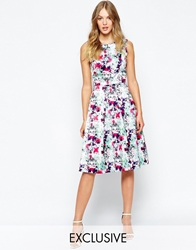 Wolf And Whistle Inverted Pleat Dress In Mirrored Floral Print Multi