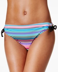 California Waves Cinema Striped Side Tie Hipster Bikini Bottom Women's Swimsuit
