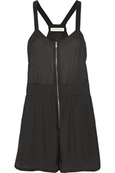 Etoile Isabel Marant Brushed Satin Playsuit Black