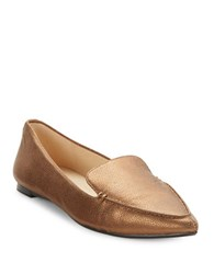 Karl Lagerfeld Destine Calf Hair Accented Leather Loafers Bronze