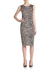 Pink Tartan Leopard Print Sheath Dress Camel Black
