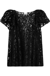 Philosophy Ruffled Glossed Lace Top Black