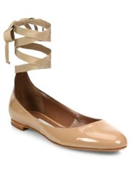 Tabitha Simmons Daria Patent Leather Ankle Wrap Ballet Flats Flesh Patent