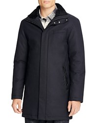 Mackage Leather Trim Long Coat Navy